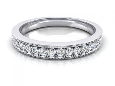 Milgrain Edge Diamond Ladies Wedding Band