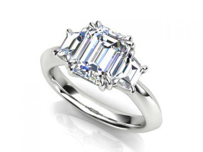 Emerald Cut Trilogy Diamond Engagement Ring