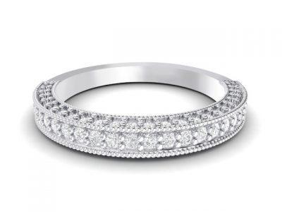 Bead set triple sided diamond wedding ring with milgrain