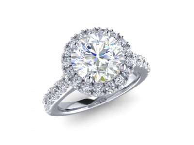 Classic Diamond Halo Engagement Ring with Diamonds Set down the band