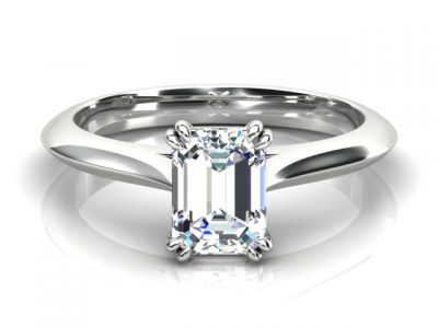Double 4 Claw Emerald Cut Solitaire Engagement Ring